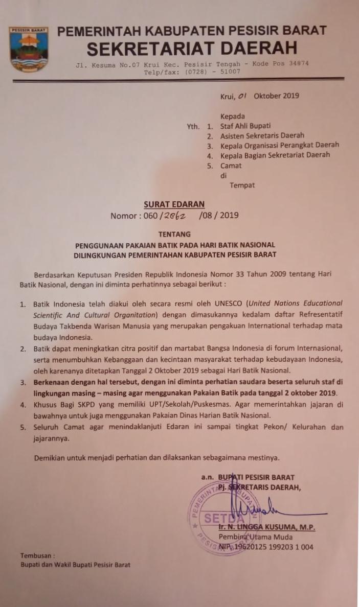Penggunaan Pakaian Batik Pada Hari Batik Nasional 02 Oktober